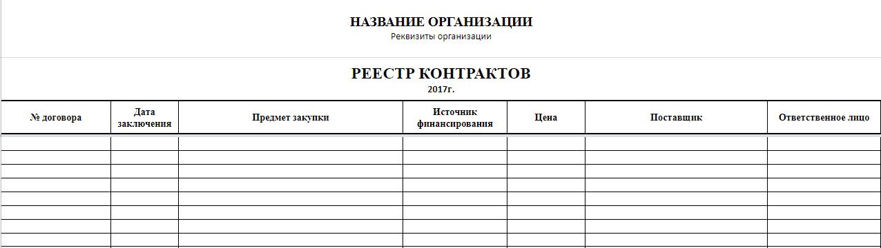Бланк реестра контрактов скачать