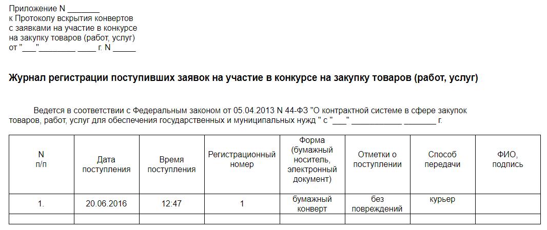 Журнал Регистрации Расписок о Приеме Документов